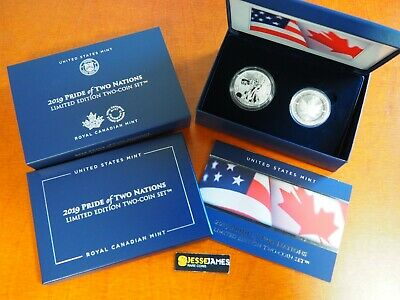 2019 W Enhanced Reverse Proof Silver Eagle Maple Leaf Pride Of Two Nations Set