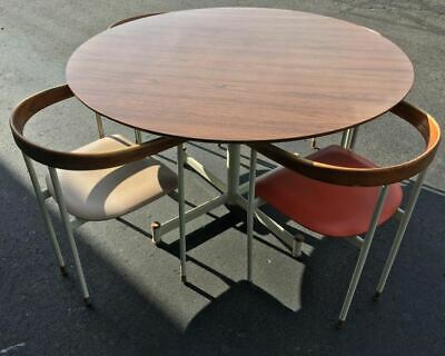 RARE Prototype Mid Century Mod Heywood Wakefield Circular Laminated Walnut Table
