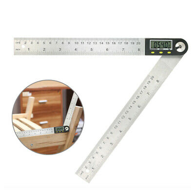 "Portable Digital Protractor Angle Finder 0-200mm/8"" Stainless Steel Ruler"