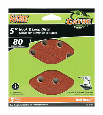 Gator  5 in. Aluminum Oxide  Hook and Loop  Sanding Disc  80 Grit Medium  5 pk
