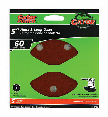 Gator  5 in. Aluminum Oxide  Hook and Loop  Sanding Disc  60 Grit Coarse  5 pk