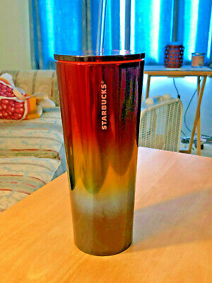 🌈Starbucks Stainless Steel Pride Rainbow Cold Cup Tumbler 24oz Summer 2019🌈