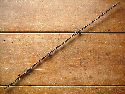 KITTLESONS  SMALL GAUGE  HALF HITCH BARB on TWO FLAT LINES - ANTIQUE BARBED WIRE