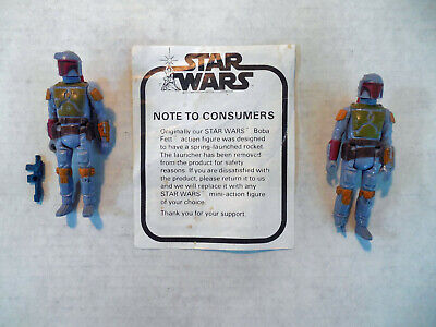Vintage Star Wars Boba Fett+ Apology Note Weapon + Action Figure Hong Kong 1979