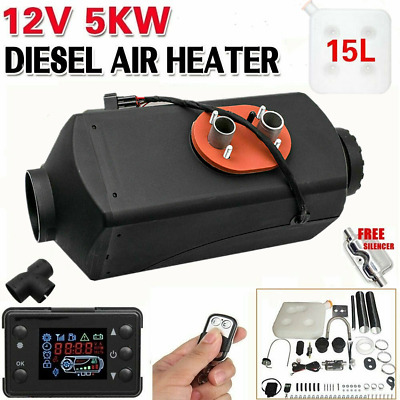 12V 5KW Diesel Air Heater 15L Tank Silencer Fliter T-Piece digital Switch AU