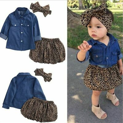 Mikrdoo New Fashion Baby Girls 3PC Denim Skirts Clothes Sets Long Sleeve De L8W6