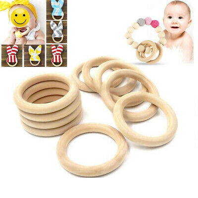 20pcs Unfinished Natural Wooden baby Teething Rings Curtain Craft 70mm 55mm 45mm