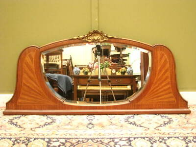 Antique French Inlaid Mahogany Overmantle / Wall Mirror ~ Beautiful Gilt Detail