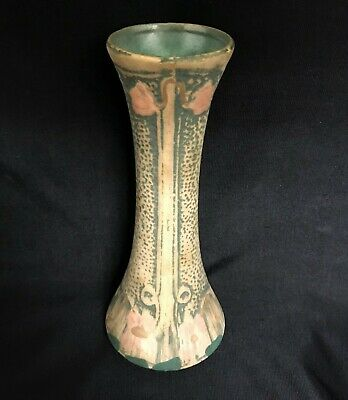 """Weller Pottery Arts And Crafts Mission Matte Green Floral 7½"""" Vase Luxor Rrpc"""