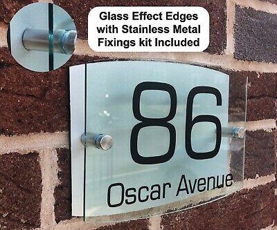 Glass Effect House Sign Plaques Door Sign Number Personalised Custom Address