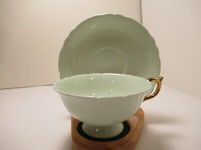 Paragon Eng China  Cup & Saucer Light Green With Gold Handle Very Pretty