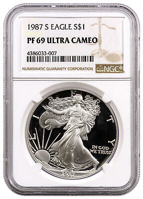 1987 S 1 Oz Proof American Silver Eagle NGC PF69 UC SKU16366