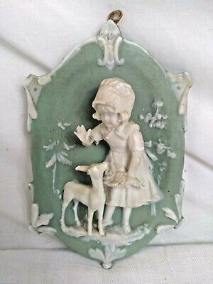 Ancienne SCULPTURE Murale BISCUIT Bas Relief WEDGWOOD 1900 Fillette Faon ART A