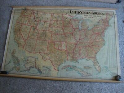 """Rare Large 57"""" X 59"""" 1901 National Publishing Co Wall Map Of The United States"""