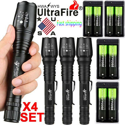 200000LM Ultrafire T6 LED Zoomable Flashlight 18650 battery Torch Lamp Camping *