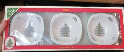 """Set/3 Spode Christmas Tree Holiday Square Bowls Nuts Fruit Sauce Dips Dish 5""""NEW"""