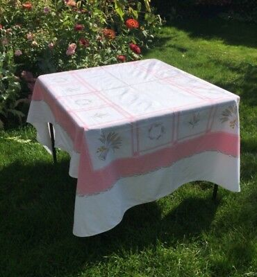 Vintage Tablecloth Pink Grey Wheat California Hand Prints 72 x 57 Made in USA