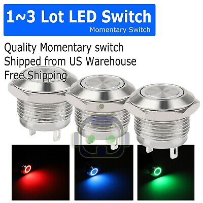 1~3PCS LED Metal Momentary Push Button Switch 4Pin 12mm 4.5~12V Red/Green/Blue