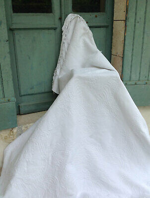 Rare Antique White On White, Whitework, Marriage, French, Bedspread Quilt