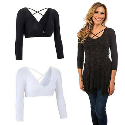 Women Plus Seamless Arm Shaper Sheer Bandage Crop Tops Solid Blouse Accessories