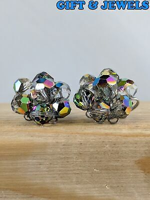 BEAUTIFUL LAGUNA SIGNED VINTAGE CRYSTAL PAIR OF CLIP ON EARRINGS  #ac032