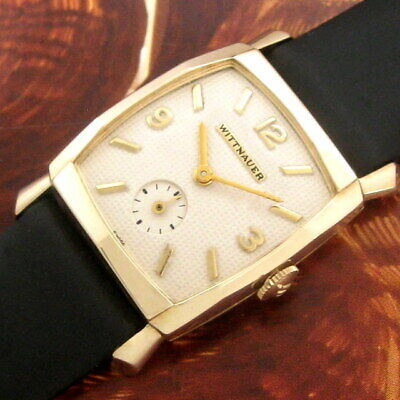 Mens 1950 Original WITTNAUER 14k SOLID GOLD Retro Modern Deco Faceted Case Watch