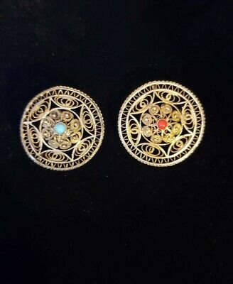 """Flower Wheel Brooches Red/blue Stones, Gold Metal 1 1/2"""" Vintage"""