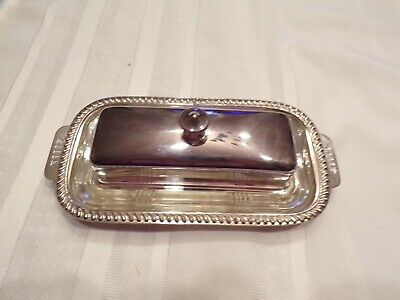 Vintage Covered Butter Dish Silver on Copper