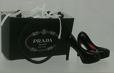 1:12th Miniature Doll House Accessories Parda Shoes Black & Shopping Bag