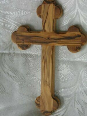 Nine Inch (9) Bethlehem Olive Wood Budded Cross of the 14 Stations by Holy Land