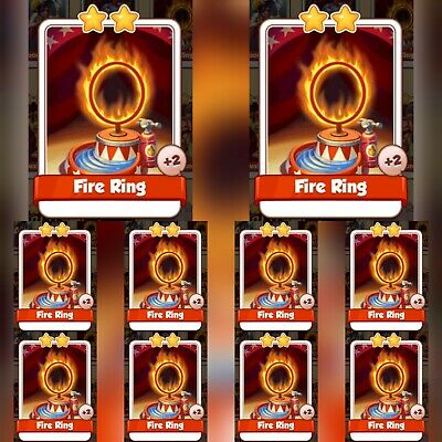 10 x Fire Ring :- Coin Master Cards ( Fastest Delivery )