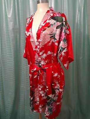 NWOT Women Chinese Silky Red Peacock /& Floral Kimono Sleeve Robe OSFM