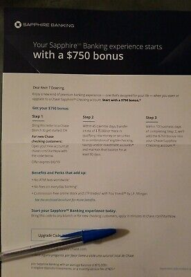Chase Bank Bonus Coupon $750 Bonus Offer Sapphire Checking - EXP 8/6/2019