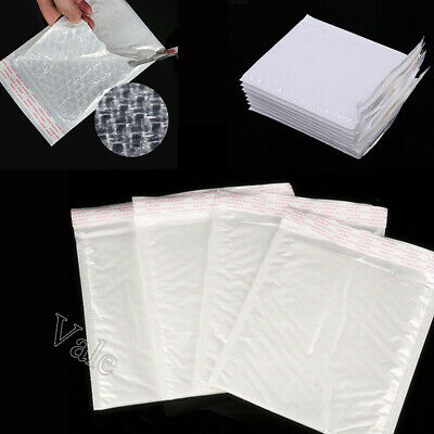 16 Sizes White Padded Bubble-Lined Envelope Mailers Self-Seal Shipping Bags Lot
