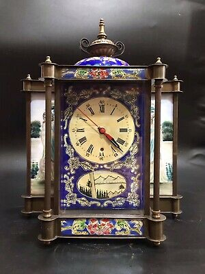 Chinese Old copper handwork Mechanical clock table Watch Home decoration
