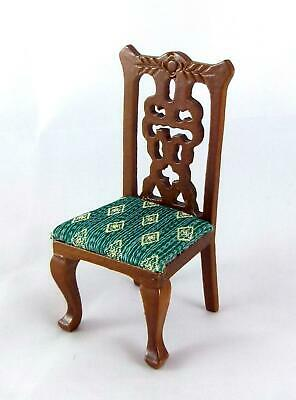 Melody Jane Dolls House Miniature Dining Room Victorian Walnut & Green Chair