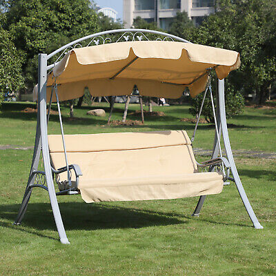 Outsunny Garden Metal 3 Seater Swing Chair Heavy Duty Patio Hammock Bench Canopy