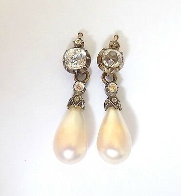 Antique Georgian c.1700s Pearl Paste Drop Earrings