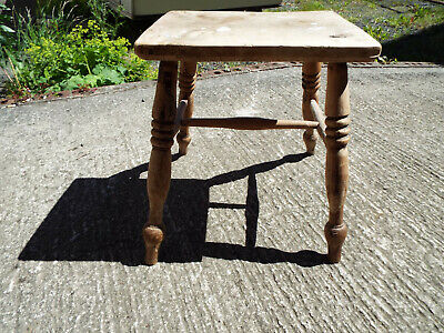 Antique Solid Elm Milking Stool Rustic Farm House Turned Legs