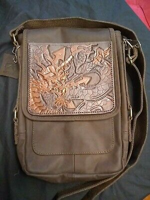 Leather Military Style Tech Bag. Tooled Leather Dragon.