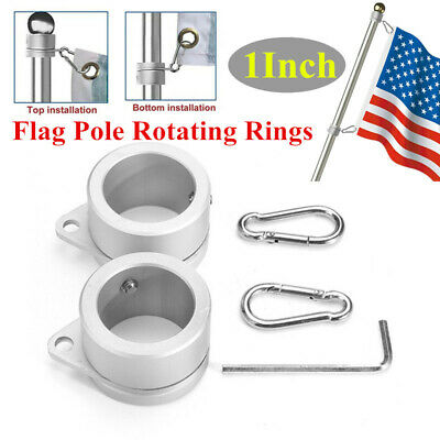 2pcs Alloy Metal Flag Pole Rotating Rings Clip Anti Wrap Grommet Mounting Tool
