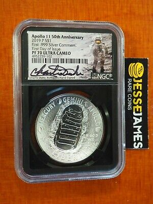 2019 P Proof Silver Apollo 11 Dollar Ngc Pf70 Charlie Duke First Day Of Issue