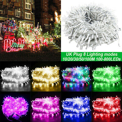 10-100M LED Mains Plug In Fairy Lights String 8 Function Outdoor Garden Xmas UK