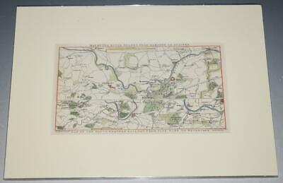 Map of River Thames Hampton to Staines & SW Railway Nine Elms to Weybridge 1842