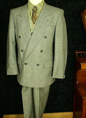 Mens Vtg Prince of Wales Check DB Double Breasted 1940's 40's Suit 40/42 30 33