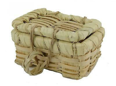 Dolls House Picnic Hamper Wicker Woven Basket with Lid Miniature Accessory MD