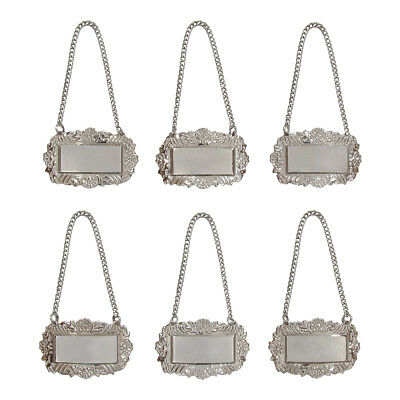 Silver Floral Blank Decanter Labels Plain Liquor Bottle Label Tag Set of 6 Tags