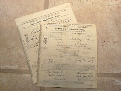 2x SEAMAN'S ALLOTMENT NOTE - 1920