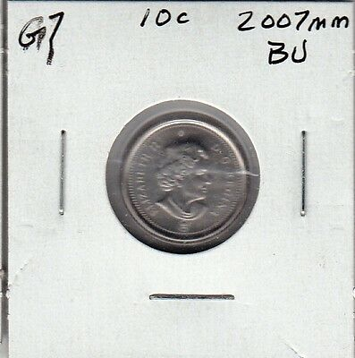 G7 CANADA 10c - 10 CENTS COIN 2007MM BU FROM A BRILLIANT UNCIRCULATED SET $10.00