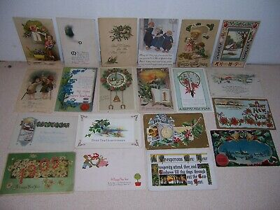 1908-1924 NEW YEARS GREETING ANTIQUE POSTCARD LOT of 20 DIFF.